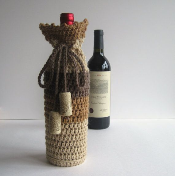 Wine Cozy - Crochet Wine Bottle Covers Sacks Gift Bags - Shades of Brown with Cork Tassels