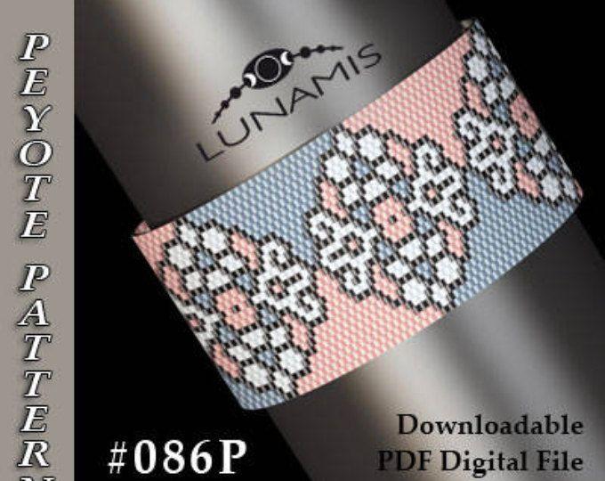 Peyote bracelet pattern, odd count, peyote pattern, stitch pattern, pdf file, pdf pattern, #086P