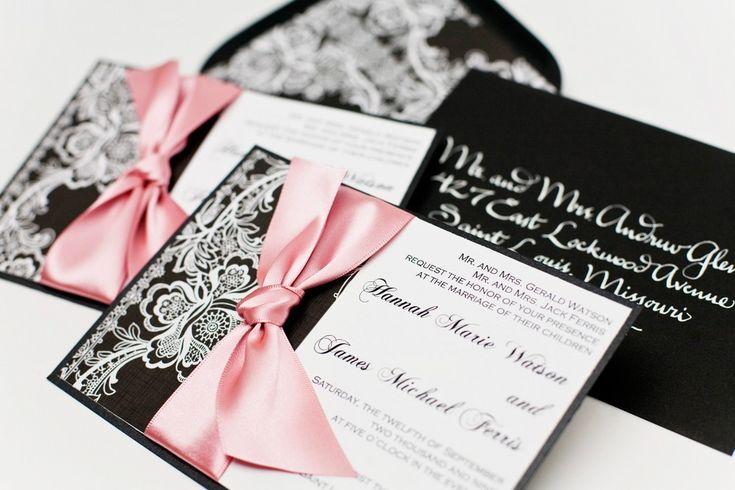 Wedding invitation Vintage Lace - Black and White