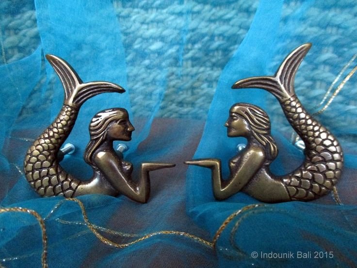 Putri Duyung Mermaid Cabinet Door Knobs or Drawer Pulls Matching Pair 77mm $27.00 USD from Indounik on Etsy