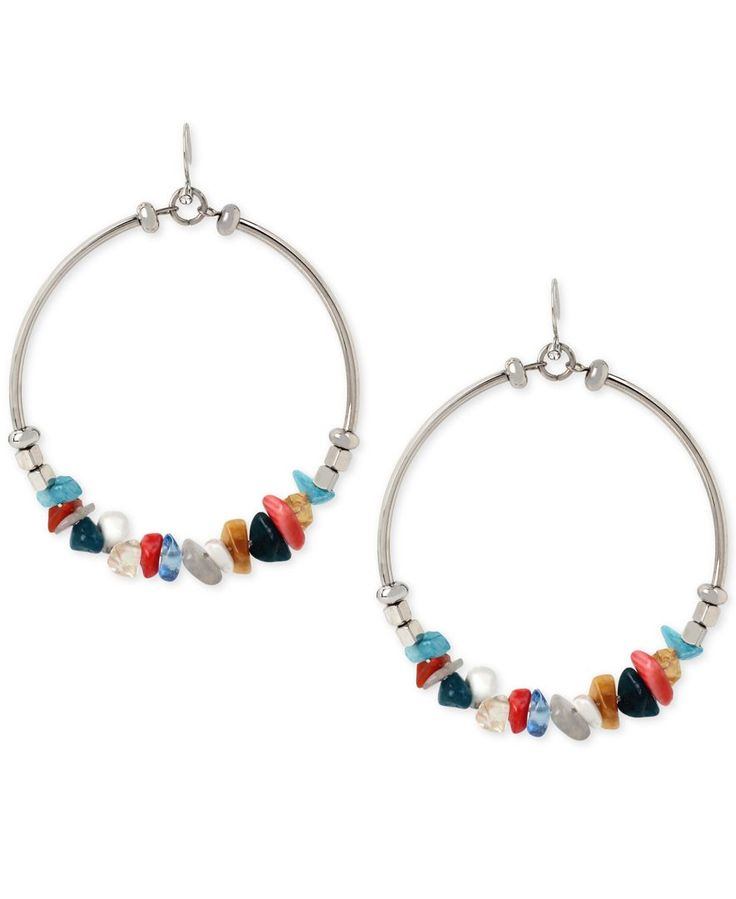 Kenneth Cole New York Silver-Tone Stone Chip Gypsy Hoop Earrings