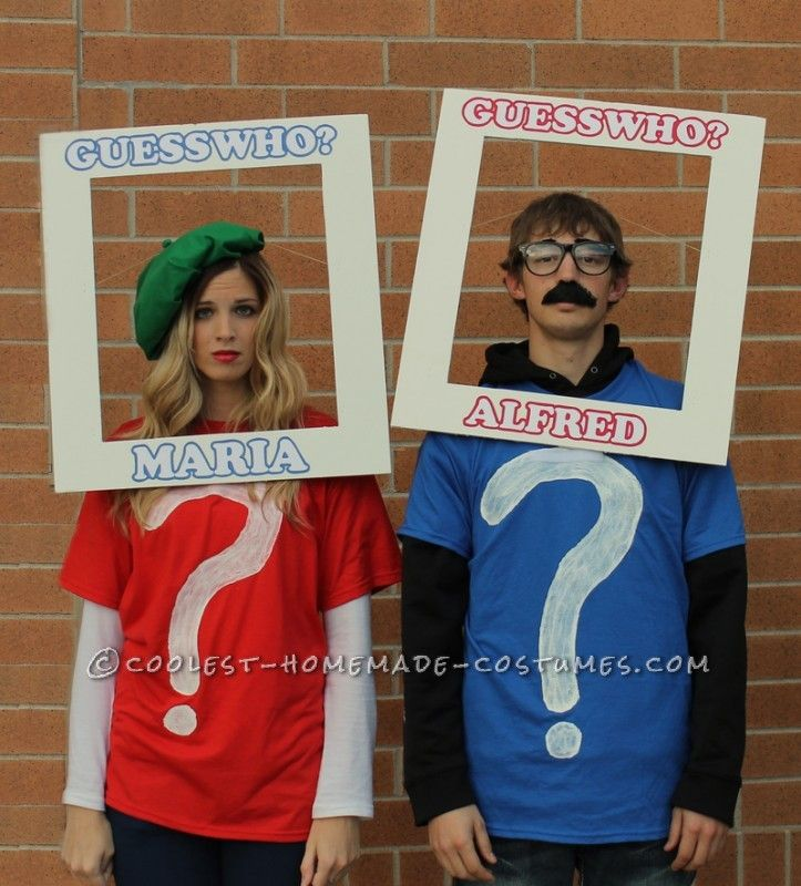 """Cool Couple Costume: """"Guess Who"""" We Were for Halloween? ...This website is the Pinterest of costumes"""