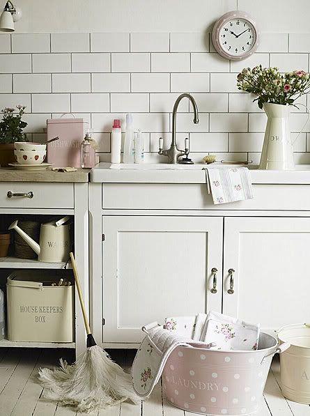 metal laundry tubs, not pink polka dot maybe