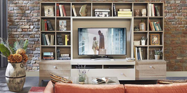 Hem kitaplık hem de TV ünitesi…