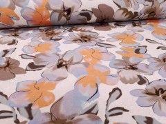 Wiskoza duże kwiaty brązowe na vaniliowym H 2412036