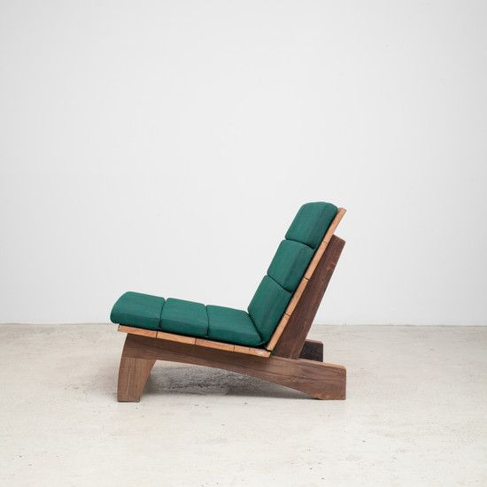 """Rio Manso"" armchair has a solid yet visually light, rustic structure with a gracefully padded seat and back. Motta designed this line of furniture using demolition wood, plentiful in urban centers like São Paulo. Available with upholstered cushion. Suitable for both indoor and outdoor spaces."