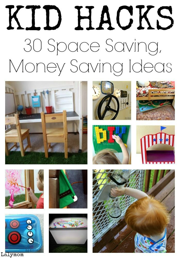 KID HACKS - List of 30 Space Saving, Money Saving Life Hack Ideas for Kids Play on Lalymom.com