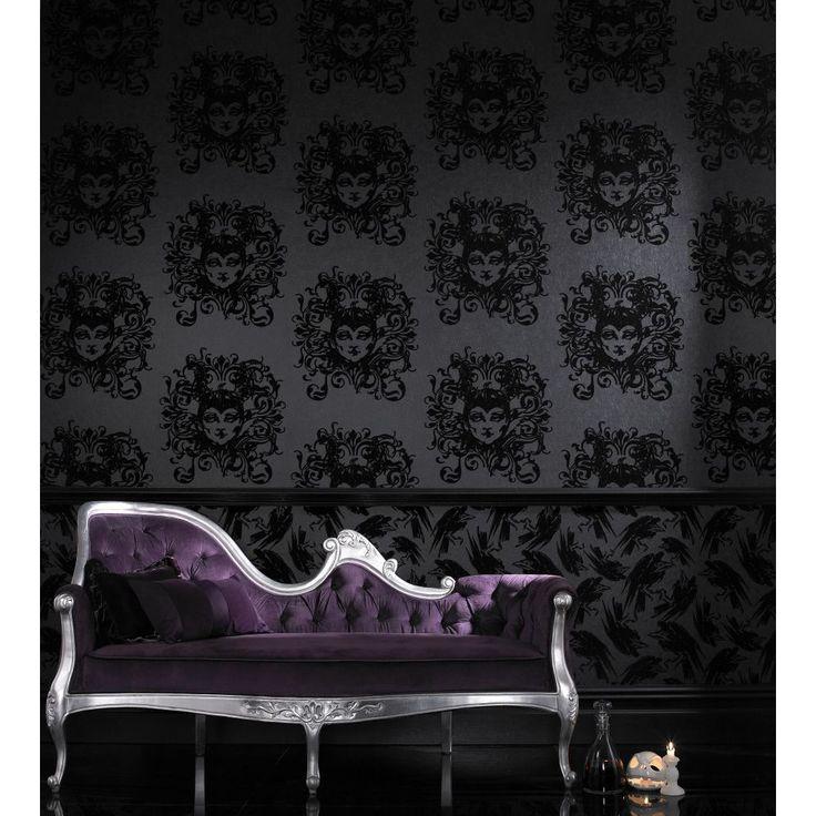 Graham & Brown Raven Diablo Flock 10 m L x 52 cm W Roll Wallpaper