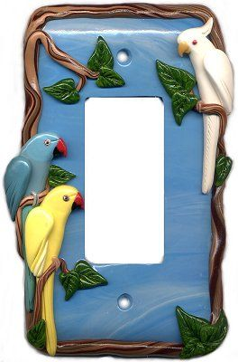 Custom Exotic Bird Parrot Lightswitch Plate Light Switch Covers @ ParrotJewelry.com
