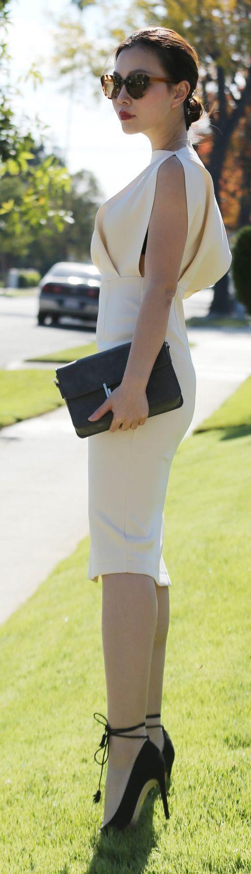 Elegant white dress # High Heels