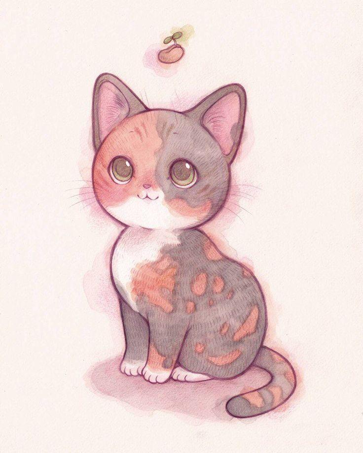 Милые картинки рисованные котики