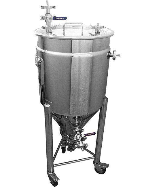 fermentador cónico inoxidável revestido como parte do sistema de produção de cerveja completa
