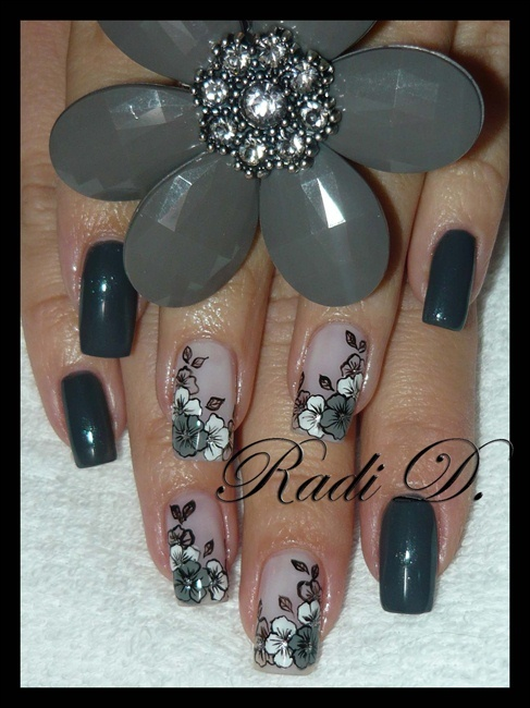 Black and grey flowers