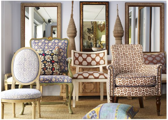 Chairs recovered in John Robshaw textiles