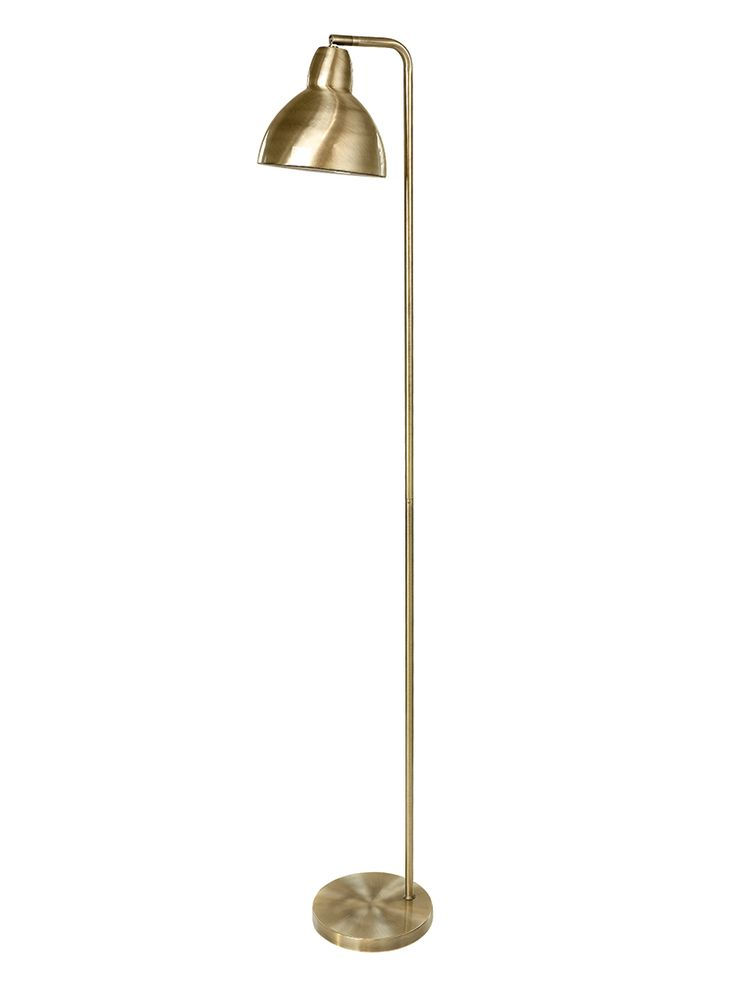 Made from weighty iron with a spun brass finish, our sleek floor lamp includes a sturdy round base and large shade with a gloss white interior. With a pivoting shade, this tall floor lamp is perfect for brightening up dark corners and works well as an oversized reading light for your favourite seating spot.   Click here to view our useful lighting buying guide, and take a look at our blog for ideas on how incorporate lighting into your home.