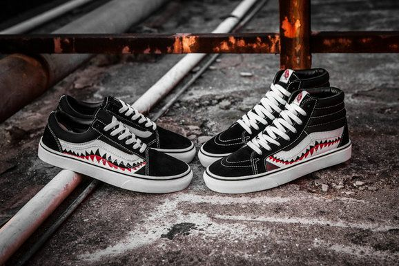 Vans Sk8 Hi X Bape Shark Custom High Top F13 Black White Vans For Sale Vans Schoenen