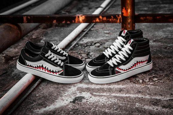 Vans Sk8 Hi X Bape Shark Custom High Top F13 Black White Vans For Sale Vans Schoenen