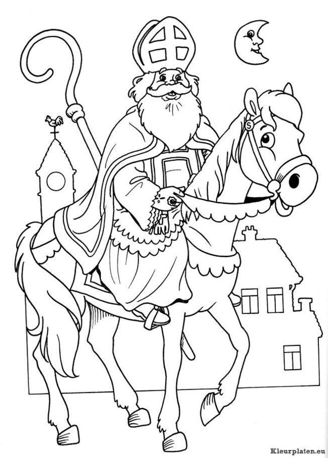 afbeeldingsresultaat voor paard sinterklaas kleurplaat