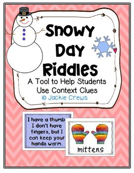 Free! These 24 riddles and picture cards are a fun tool to help kids use context clues in their reading. There are 12 snowy themed riddles and 12 coordinating graphics. Use these cards in literacy centers, word walls, or for file folder games. This is especially good for those students who need picture cues to help them answer the riddles.