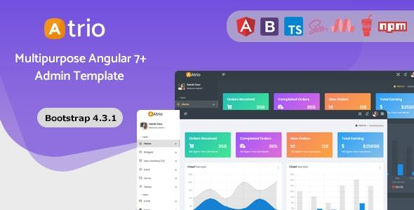 Introduction Atrio Is A Modern Angular 7 Admin Dashboard Template Atrio Comes With Material Design Components For Rich Styles And Design At With Images Dashboard Template
