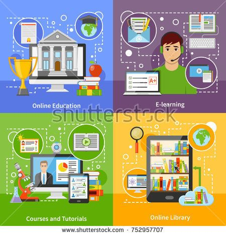 Stock Photo: Online education for university degree diploma 4 flat icons square with courses and tutorials isolated illustration