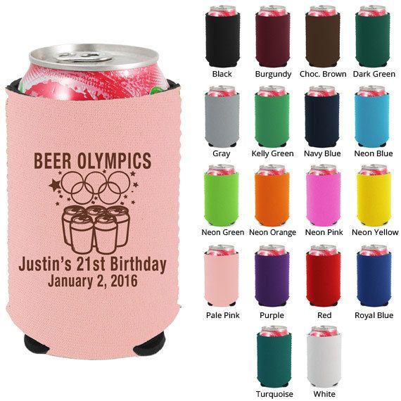 Birthday Party Neoprene Koozies (Clipart 19048) 21st Beer