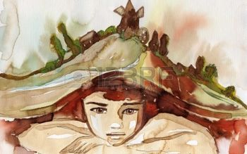 akvarell illusztráció ábrázoló portréja egy gyönyörű gyermek photo