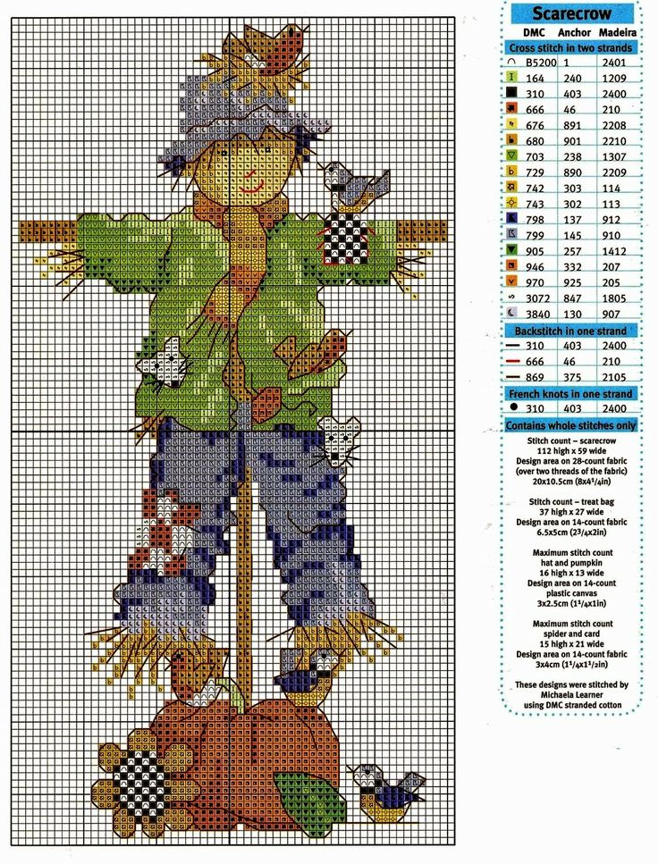 Mille schemi a punto croce gratuiti per tutti: Raccolta di schemi a tema spaventapasseri a punto croce