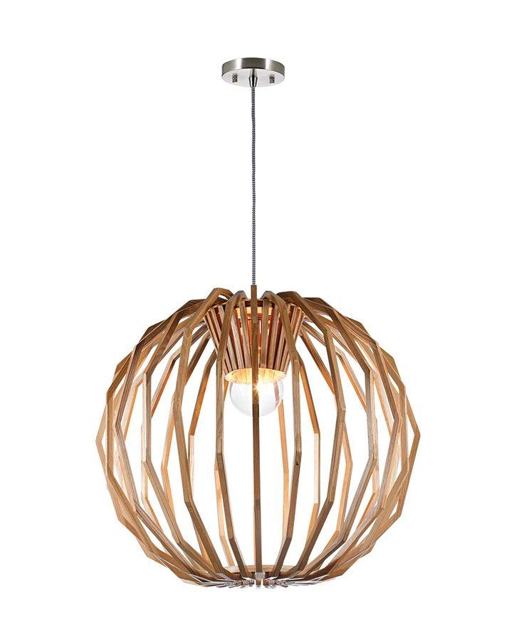 Stockholm 1 Light Large Round Pendant in Natural Wood