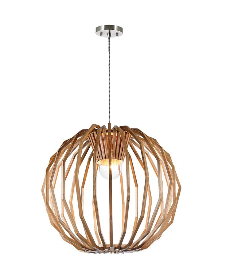Stockholm 1 Light Large Round Pendant in Natural Wood