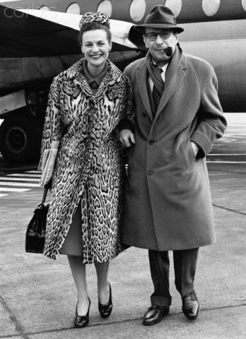 Denise and Georges Simenon (French novelist) - London Airport 1962