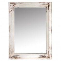Espejo vintage madera decoraci n blanco 110 cm en nuryba for Espejos decorativos blancos