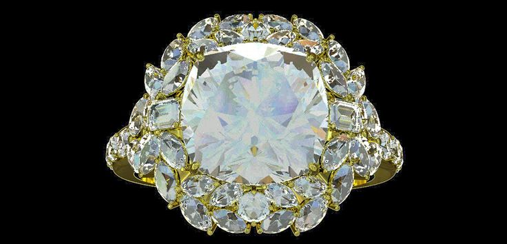 Cushion D F garland diamond ring