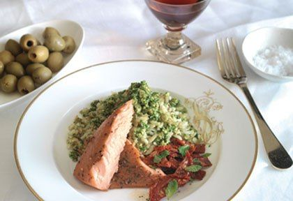 Orzo With Pesto And Regal Wood Roasted Salmon
