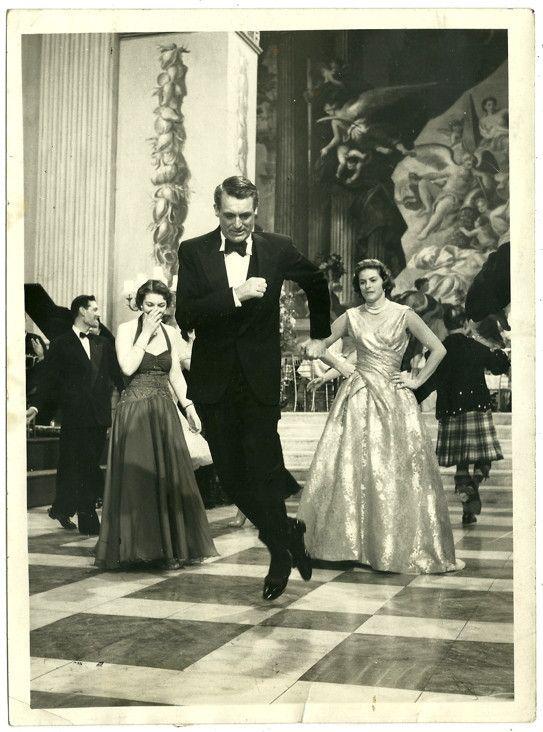 "Cary Grant in director Stanley Donen's ""Indiscreet"". Co-star Ingrid Bergman watching..."