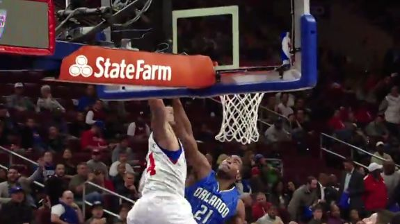 Against all odds, somehow Philadelphia 76ers rookie KJ McDaniels still finishes this alley-oop from a Tony Wroten no look pass.
