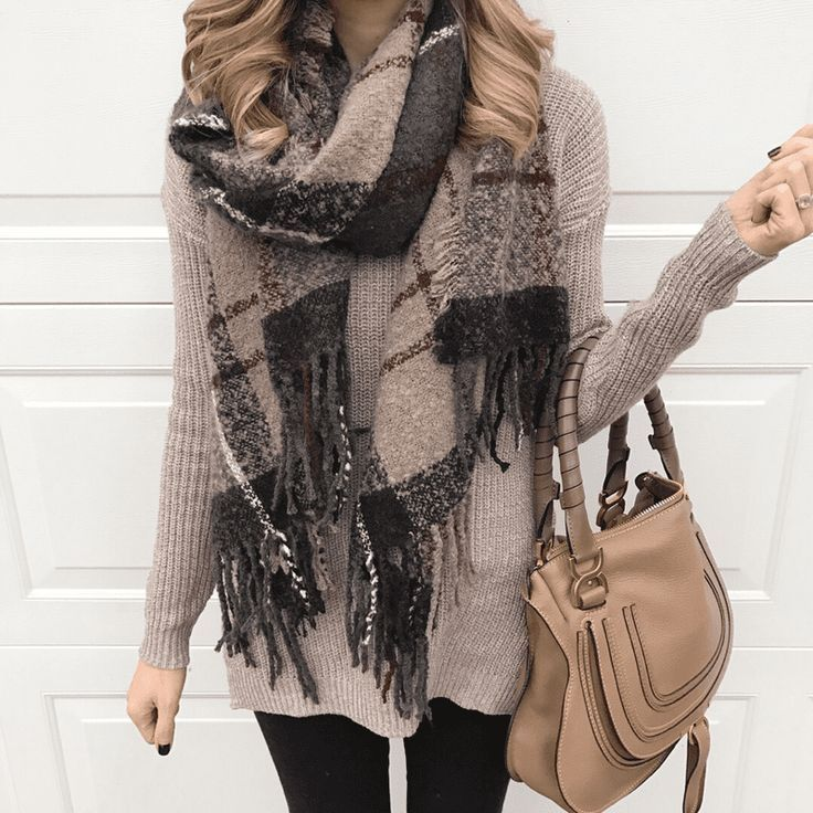 neutral sweater and the softest plaid scarf