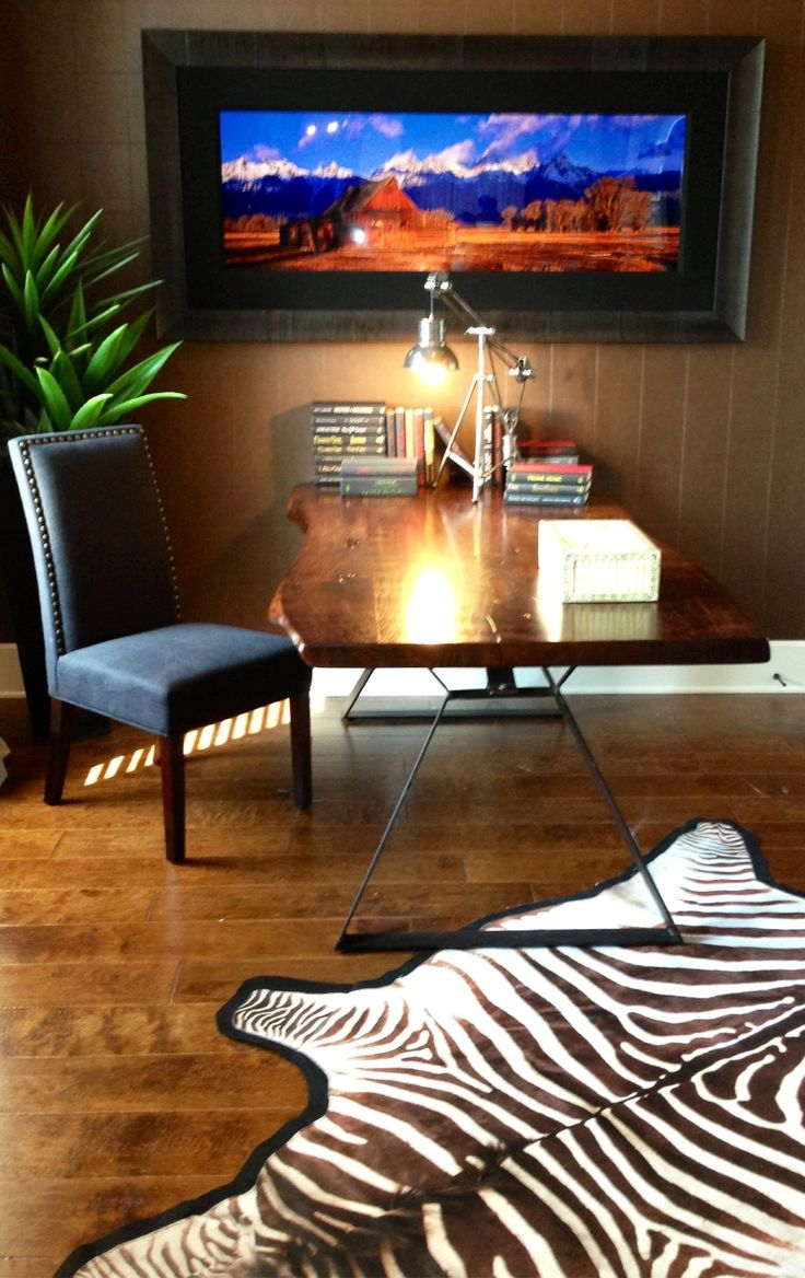 Adding An Animal Skin Rug Can Take Office From Drab To Fab