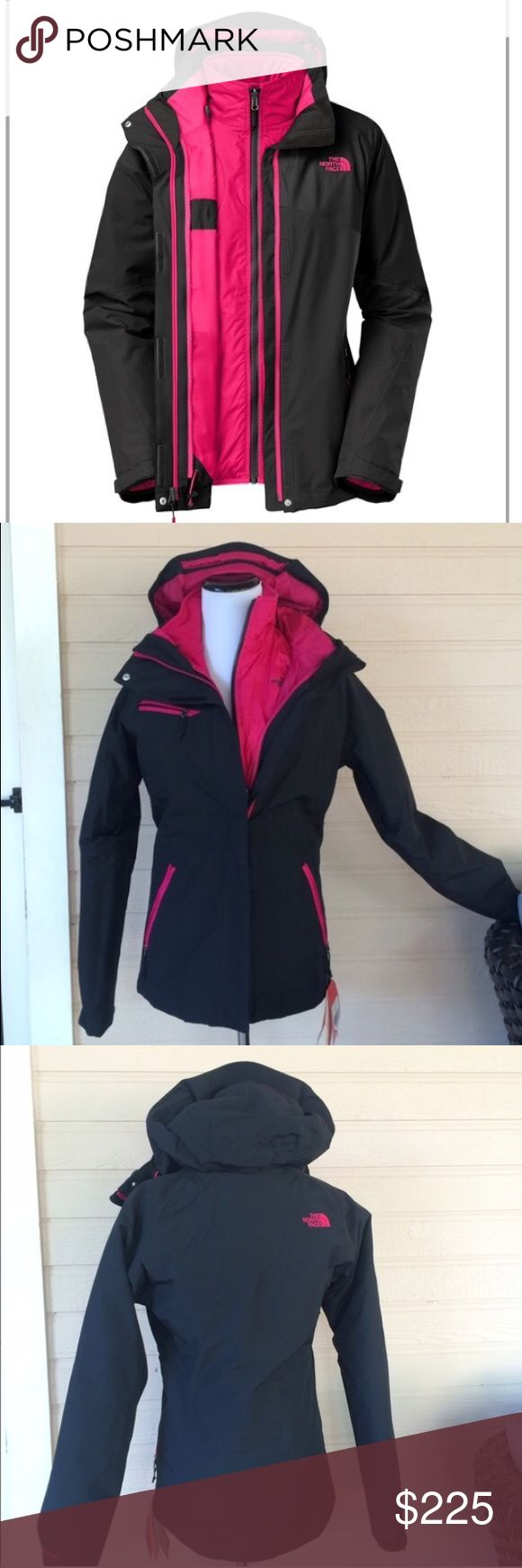 North face Cinnabar Triclimate jacket NWT, Northface 3 in 1 jacket🔹HyVent 2L waterproof 🔹zip in Northface Heatseeker insulated liner🔹fully adjustable removable hood🔹media compatibility 🔹secure zip chest pocket🔹center front zip w/storm flaps🔹pit zip vents, hem cinch cord🔹360• reflectivity 🚫NO Trades❗️ North Face Jackets & Coats