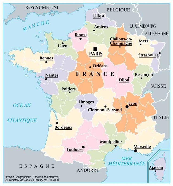 France-carte-de-France -les-grandes-villes-de-France-Royaume-Uni-Belgique-Luxembourg-Allemagne-Suisse-Italie-Espagne-France-Europe.