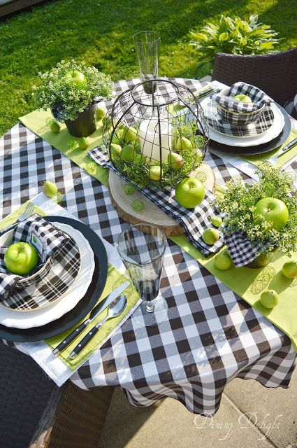 Dining Delight Green Apple Amp Buffalo Check Tablescape In 2019