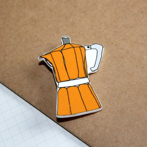 Espresso Coffee Pot Brooch in Orange by helenacarrington on Etsy