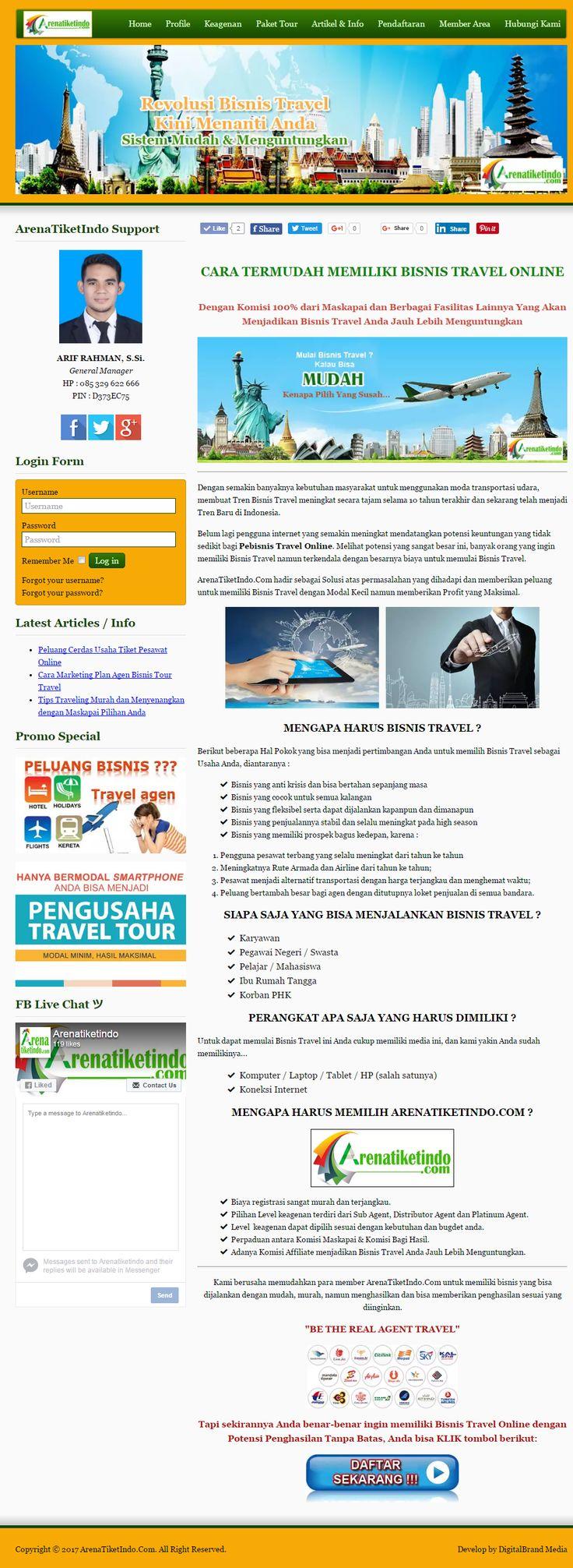 ArenaTiketIndo. Website bisnis dengan desain simple elegan. Website B2B (Business to Business) memberikan kemudahan bagi bisnis tour travel untuk melengkapi bisnisnya dengan bisnis tiket online.