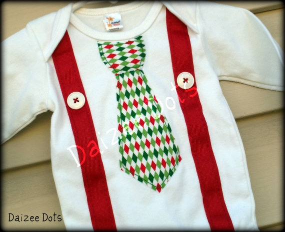Christmas baby onesie tie with suspenders available by Daizeedots, $16.00