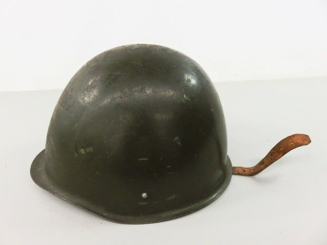 Green Combat Helmet with Leather Lining and Strap - shopgoodwill.com