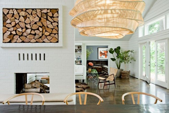 i love everything about thisDining Room, Jessica Helgerson, Lights Fixtures, Fireplaces, Interiors Design, Interiordesign, Woodstorage, Modern Interiors, Firewood Storage