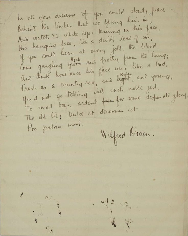 descriptive analysis of the first world war in dulce et decorum est by wilfred owen Read this essay on dulce et decorum est analysis  et decorum est during the first world war and  est is a war poem written by wilfred owen dulce et.