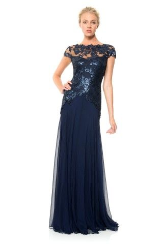 Tadashi Shoji Paillette Embroidered Lace and Chiffon Skirt Gown
