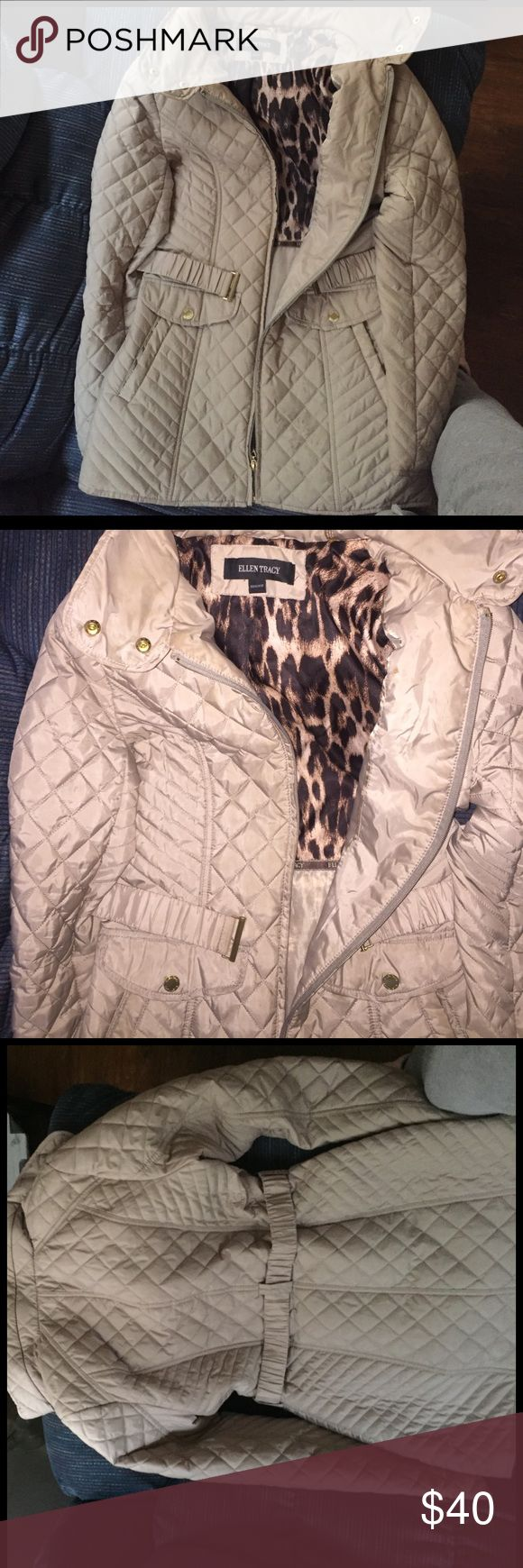 Light cream jacket/ parka Super cute basically new !! Never used it much Ellen Tracy Jackets & Coats