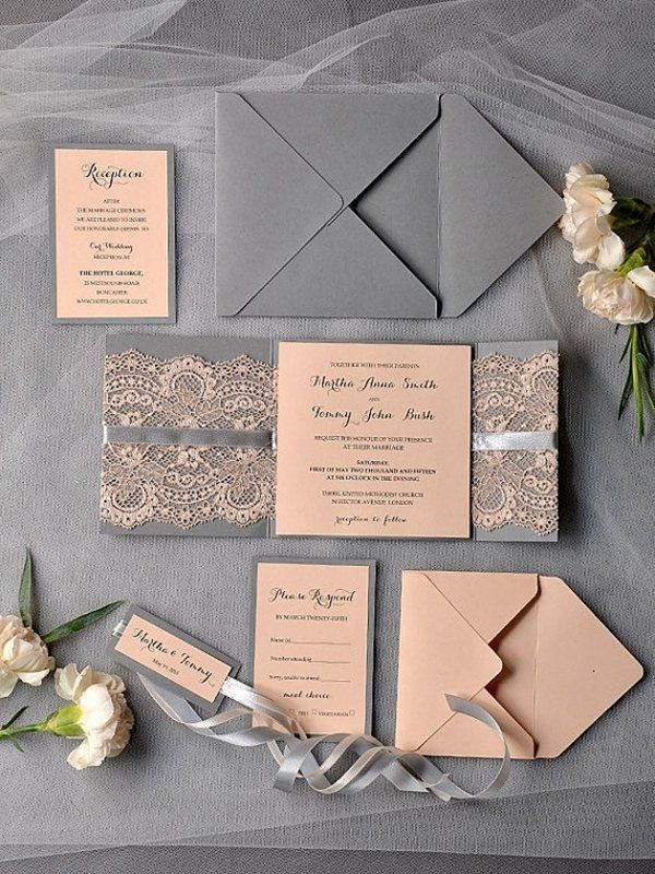 For a classy ensemble, gray and blush or peach shades complement each other for your wedding color palette. These invitations incorporate these tones with lace and ribbon for a vintage wedding theme, completed with faux ivory flower decorations for an extra decoration.